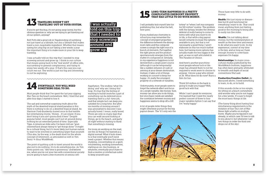 A sample layout from two pages of a magazine that uses a combination of headings, block quotes, pictures, and different numbers of columns.