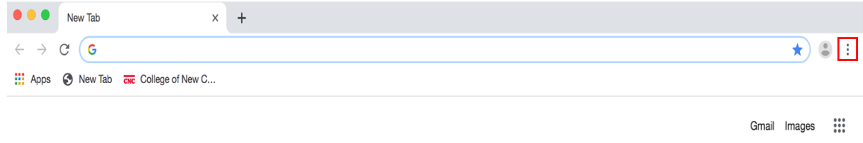 Three vertical dots in the Chrome toolbar lead to more options.