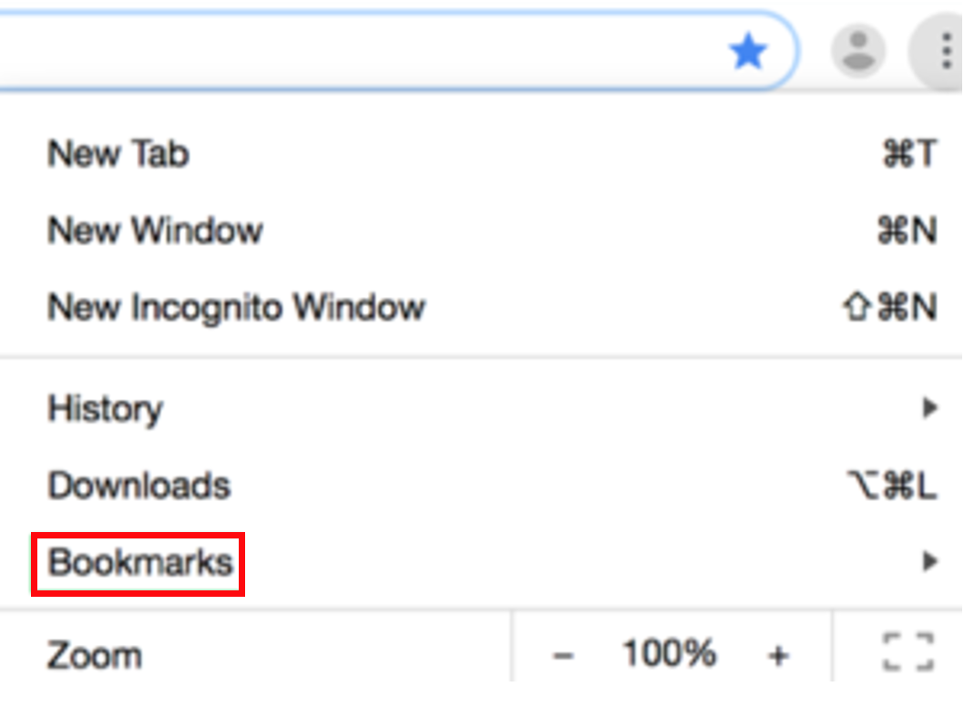 A Chrome dropdown menu that includes a link to Bookmarks.