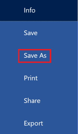 """""""Save as"""" is highlighted in the """"File"""" menu."""