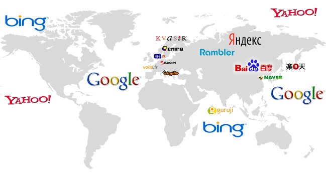 A world map with the names of popular search engines on it.