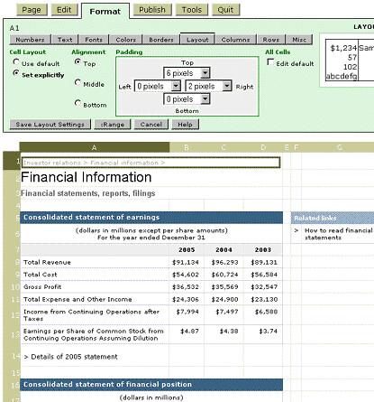 Screenshoot of spreadsheet software.
