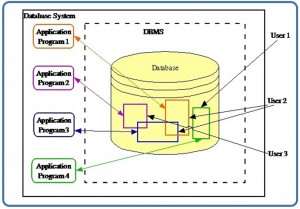 """A diagram showing a yellow cylinder with coloured rectangles within it, presumably representing data. Four rectangels are listed to the left of this each with the label """"Application Program""""."""