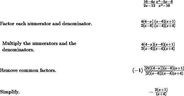 \begin{array}{cccc}& & & \hfill \phantom{\rule{5em}{0ex}}\frac{16-4x}{2x-12}·\frac{{x}^{2}-5x-6}{{x}^{2}-16}\hfill \\ \\ \\ \text{Factor each numerator and denominator.}\hfill & & & \hfill \phantom{\rule{5em}{0ex}}\frac{4\left(4-x\right)}{2\left(x-6\right)}·\frac{\left(x-6\right)\left(x+1\right)}{\left(x-4\right)\left(x+4\right)}\hfill \\ \\ \\ \begin{array}{c}\text{Multiply the numerators and the}\hfill \\ \text{denominators.}\hfill \end{array}\hfill & & & \hfill \phantom{\rule{5em}{0ex}}\frac{4\left(4-x\right)\left(x-6\right)\left(x+1\right)}{2\left(x-6\right)\left(x-4\right)\left(x+4\right)}\hfill \\ \\ \\ \text{Remove common factors.}\hfill & & & \hfill \phantom{\rule{5em}{0ex}}\left(-1\right)\frac{\overline{)2}·2\overline{)\left(4-x\right)}\overline{)\left(x-6\right)}\left(x+1\right)}{\overline{)2}\overline{)\left(x-6\right)}\overline{)\left(x-4\right)}\left(x+4\right)}\hfill \\ \\ \\ \text{Simplify.}\hfill & & & \hfill \phantom{\rule{5em}{0ex}}-\frac{2\left(x+1\right)}{\left(x+4\right)}\hfill \end{array}