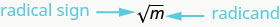 A square root is given, with an arrow to the radical sign (it looks like a checkmark with a horizontal line extending from its long end) denoted radical sign and an arrow to the number under the radical sign, which is marked radicand.