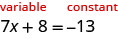 """This figure shows the equation 7x plus 8 equals negative 13, with the left side of the equation labeled """"variable"""", written in red, and the right side of the equation labeled """"constant"""", written in red."""