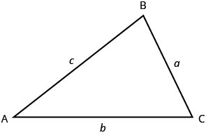 A triangle with vertices A, B, and C. The sides opposite these vertices are marked a, b, and c, respectively.