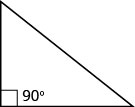 A right triangle with the largest angle marked 90 degrees.
