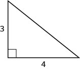 A right triangle with legs marked 3 and 4.