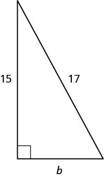 A right triangle with legs marked b and 15. The hypotenuse is marked 17.
