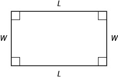 A rectangle with sides marked W and L.