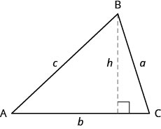 A triangle with vertices A, B, and C. The sides opposite these vertices are marked a, b, and c, respectively. The side b is parallel to the bottom of the page, and it has a dashed line drawn from vertex B to it. This line is marked h and makes a right angle with side b.