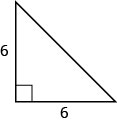 A right triangle with both legs marked 6.