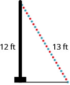 A right triangle with one leg marked 12 and hypotenuse marked 13.