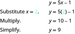 The figure shows the steps to solve for y when x equals 2 in the equation y equals 5 x minus 1. The equation y equals 5 x minus 1 is shown. Below it is the equation with 2 substituted in for x which is y equals 5 times 2 minus 1. To solve for y first multiply so that the equation becomes y equals 10 minus 1 then subtract so that the equation is y equals 9.