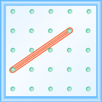 The figure shows a grid of evenly spaced pegs. There are 5 columns and 5 rows of pegs. A rubber band is stretched between the peg in column 1, row 4 and the peg in column 4, row 2, forming a line.