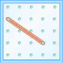 The figure shows a grid of evenly spaced pegs. There are 5 columns and 5 rows of pegs. A rubber band is stretched between the peg in column 1, row 2 and the peg in column 4, row 4, forming a line.
