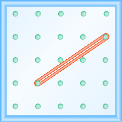 The figure shows a grid of evenly spaced pegs. There are 5 columns and 5 rows of pegs. A rubber band is stretched between the peg in column 2, row 4 and the peg in column 5, row 2, forming a line.