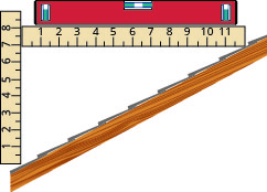 This figure shows one side of a sloped roof of a house. The rise of the roof is measured with a ruler and shown to be 7 inches. The run of the roof is measured with a twelve inch level and shown to be 12 inches.