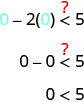 The figure shows the inequality 0 minus 2 times 0 in parentheses is less than 5, with a question mark above the inequality symbol. The next line shows 0 minus 0 is less than 5, with a question mark above the inequality symbol. The third line shows 0 is less than 5.
