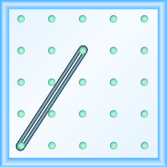 The figure shows a grid of evenly spaced dots. There are 5 rows and 5 columns. There is a rubber band style loop connecting the point in column 1 row 5 and the point in column 3 row 2.