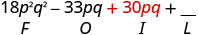 18 p squared q squared minus 33 p q plus 30 p q plus blank. Beneath 30 p q is the letter I.