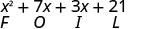 x squared plus 7 x plus 3 x plus 21. Below x squared is the letter F, below 7 x is the letter O, below 3 x is the letter I, and below 21 is the letter L, spelling FOIL.