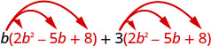 The sum of two products, the product of b and 2 b squared minus 5 b plus 8, and the product of 3 and 2 b squared minus 5 b plus 8.