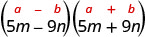5 m minus 9 n and 5 m plus 9 n. Above this is the general form a plus b, in parentheses, times a minus b, in parentheses.