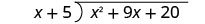 The long division of x squared plus 9 x plus 20 by x plus 5