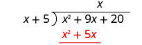 The product of x and x plus 5 is x squared plus 5 x, which is written below the first two terms of x squared plus 9x plus 20 in the long division bracket.