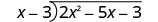 The long division of 2 x squared minus 5 x minus 3 by x minus 3.