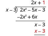 x minus 3 times 1 is x minus 3, which is written under the first x minus 3.
