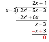 The binomial x minus 3 minus the binomial negative x plus 3 is 0. The remainder is 0. 2 x squared minus 5 x minus 3 divided by x minus 3 equals 2 x plus 1.