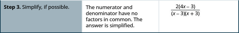 Step 3 is to simplify, if possible. The numerator and denominator have no factors in common. The answer is simplified to 2 times 4 x minus 3 divided by x minus 3 times x plus 3.