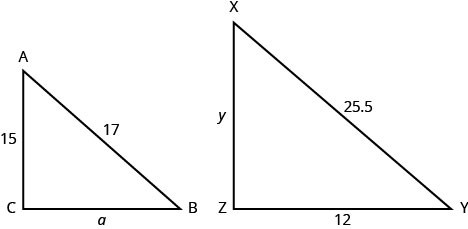 The above image shows two similar triangles. The smaller triangle is labeled A B C. The length of two sides is given for the smaller triangle A B C. The length from A to B is 17. The length from B to C is a. The length from C to D is 15. The larger triangle is labeled X Y Z. The length is given for two sides. The length from X to Y is 25.5. The length from Y to Z is 12. The length from Z to X is y.