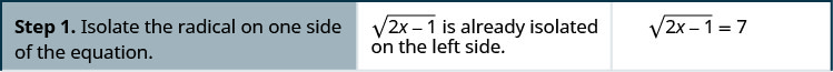 """This table has three columns and four rows. The first row says, """"Step 1. Isolate the radical on one side of equation. The square root of (2x minus 1) is already isolated on the left side."""" It then shows the equation: the square root of (2x minus 1) equals 7."""