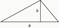 The image shows a triangle with a horizontal side at the bottom labeled b and a vertical line coming up from the side b to the vertex of the other two sides of the triangle. This vertical line is labeled h.