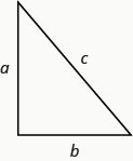 The image shows a right triangle with a horizontal side at the bottom labeled b, a vertical side on the left labeled a and the hypotenuse connecting the two is labeled c.