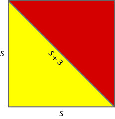 The image shows a square with a diagonal line running from the top left corner to the bottom right corner. The diagonal splits the square into two right triangles. The lower triangle is red and the upper triangle is yellow.