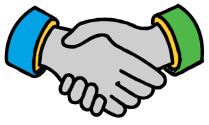 A drawing of shaking hands