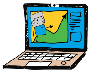 A drawing of an open laptop showing a presentation