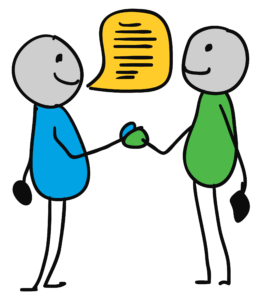 A drawing of two people talking