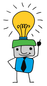 A drawing of a person with a lit light bulb on their head