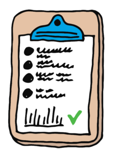 A drawing of a clipboard