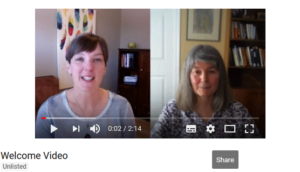 A screenshot of a YouTube video showing a split screen with two facilitators