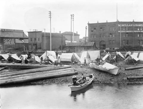Figure 4. First Nations people camped on Alexander Street beach at foot of Columbia Street by Major James Skitt Matthews (http://searcharchives.vancouver.ca/first-nations-people-camped-on-alexander-street-beach-at-foot-of-columbia-street) is in the public domain (http://en.wikipedia.org/wiki/Public_domain)