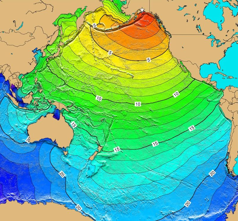 Figure 1. Calculated travel time map for the tectonic tsunami produced by the 1964 earthquake in Alaska. Map does not show the height or strength of the waves, only the calculated travel times.  Number represents time in hours for the wave to reach the destination.