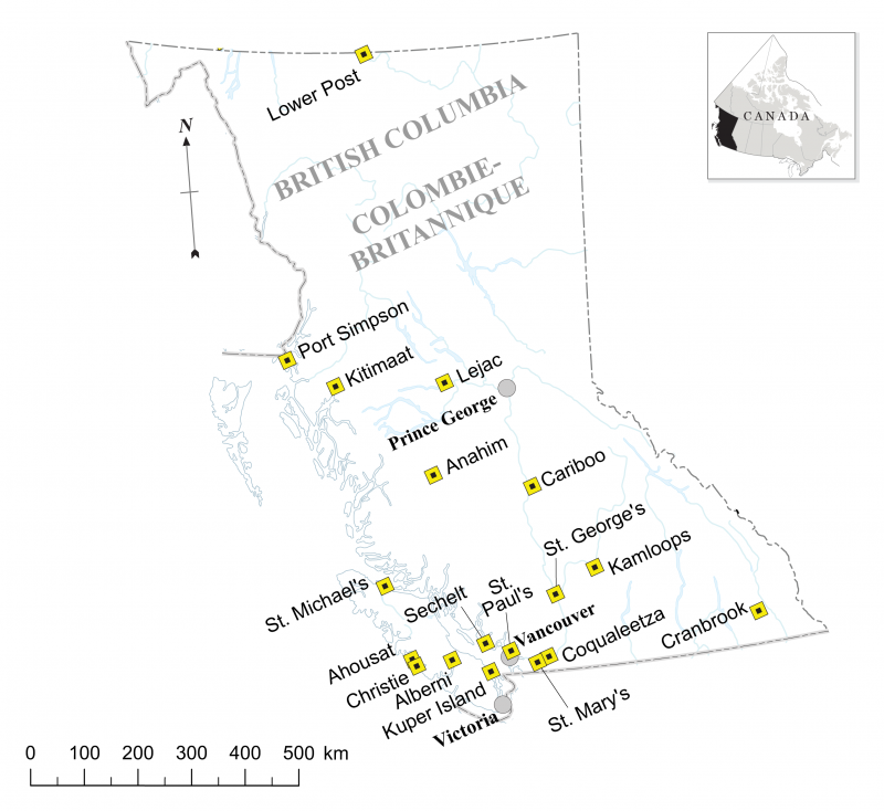 Figure 2. Locations of Residential Schools