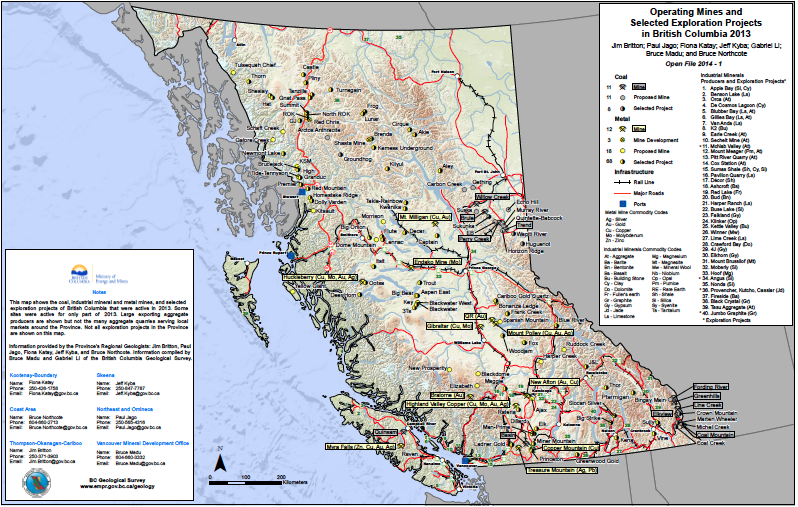 Figure 2. Operating Mines and Selected Exploration Projects in British Columbia 2013 by Ministry of Energy and Mines. CC-BY-NC-ND 4.0 (http://creativecommons.org/licenses/by-nc-nd/4.0/)